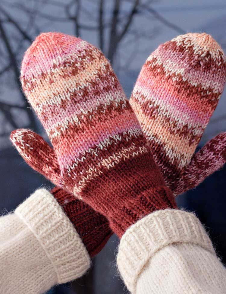 Annie's Mittens knitting pattern for babies, kids and adults designed by Holli Yeoh
