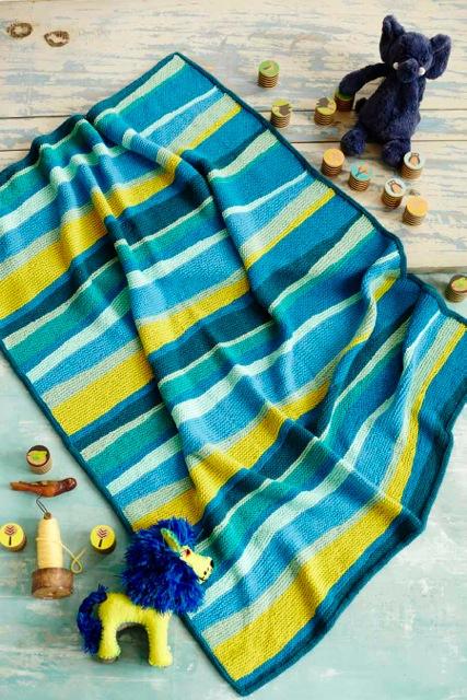 Short-Row Stripes Blanket