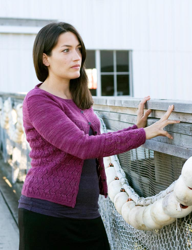 Seaswell cardigan knitting pattern designed by Holli Yeoh for SweetGeorgia Yarns   Published in Tempest