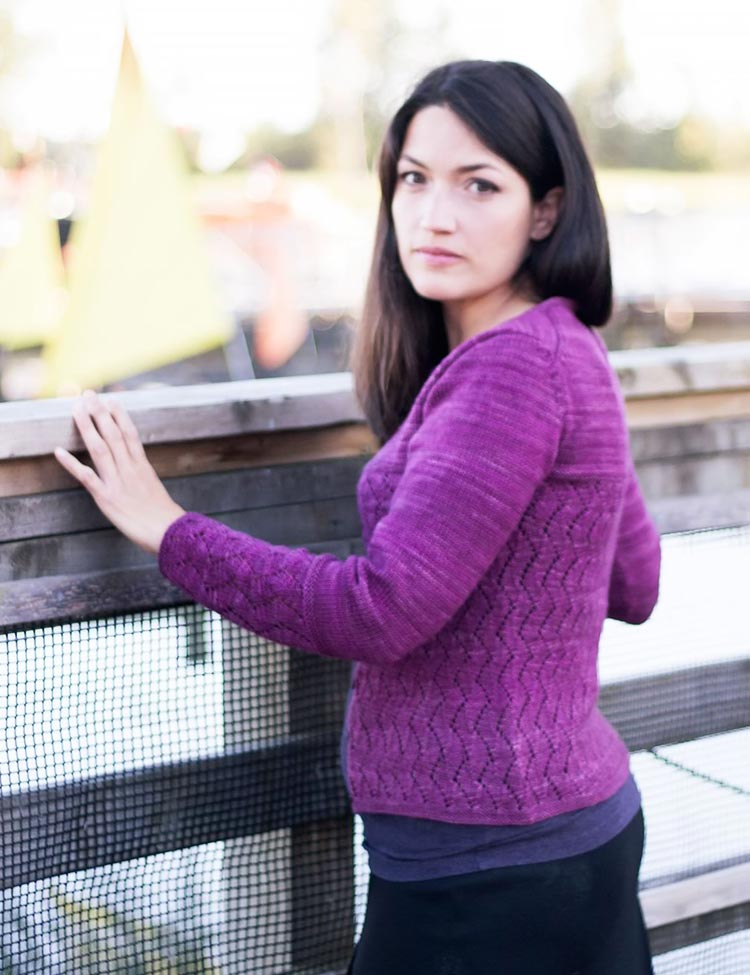 Seaswell cardigan knitting pattern designed by Holli Yeoh for SweetGeorgia Yarns | Published in Tempest