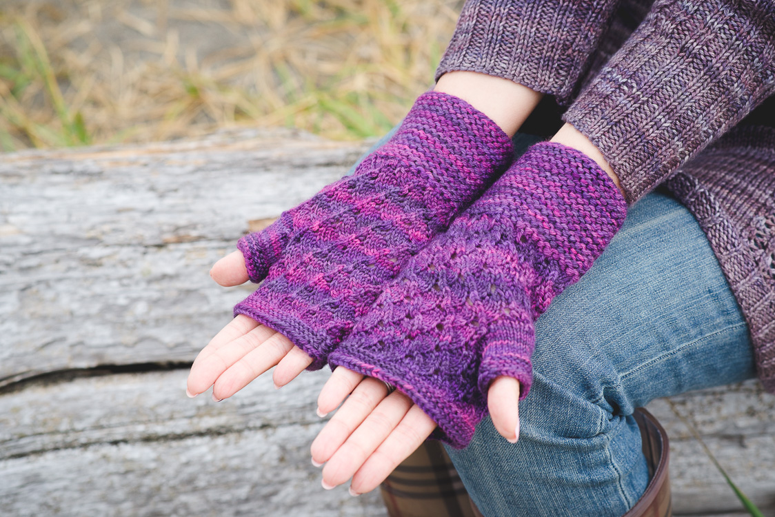 Procella hat and fingerless mitts knitting pattern by Holli Yeoh | Tempest book
