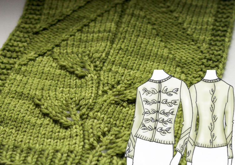 Swatch and sketches for Philodendron knittign pattern designed by Holli Yeoh | Twist Collective Fall 2015