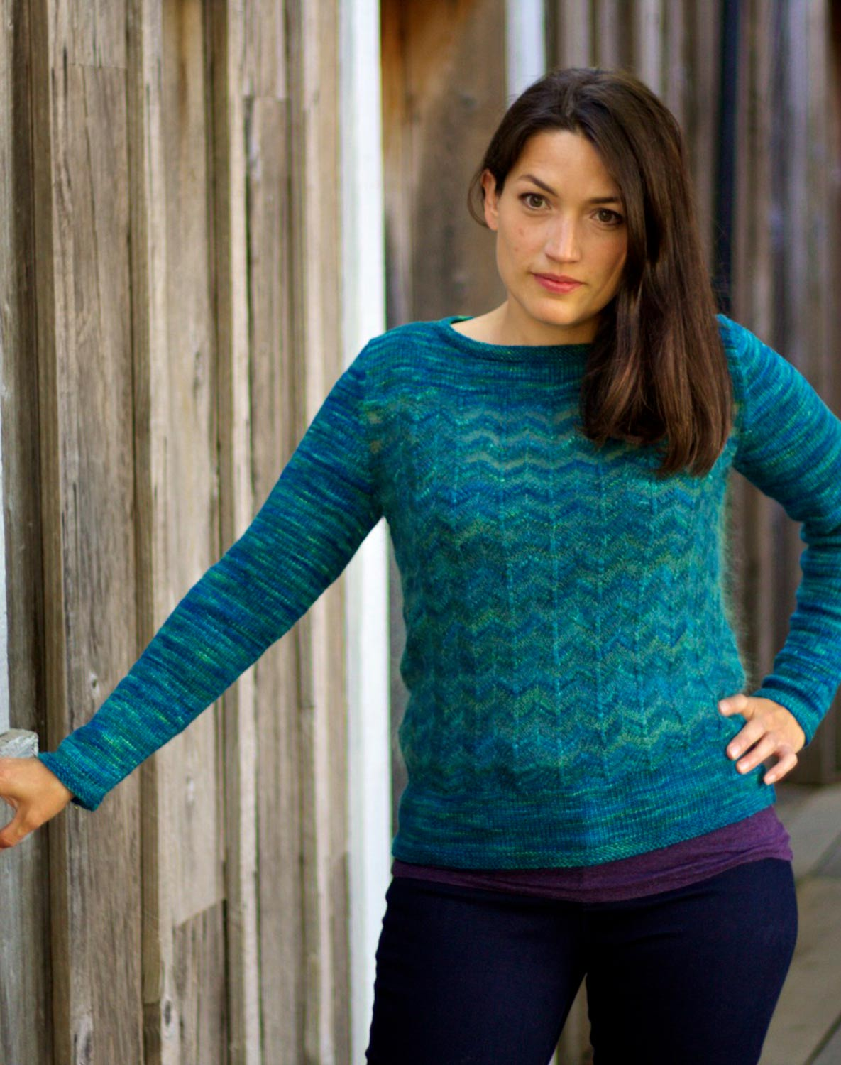 Pullover with striped chevron stitch pattern worked in two different yarns.