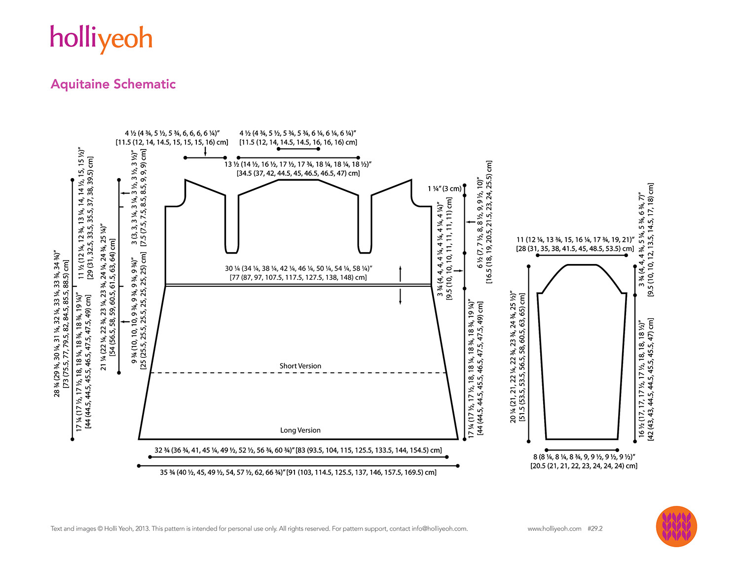 Line drawing schematic of sweater pattern with detailed measurements in both inches and cm.