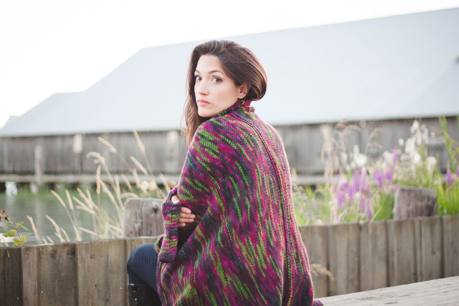 Cozy blanket with graceful curving lines available in three sizes.