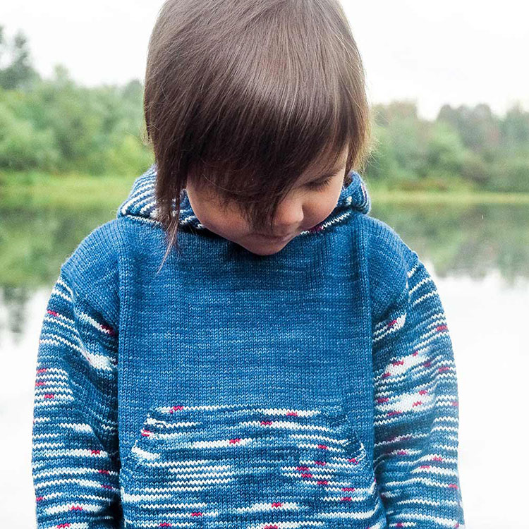Baby and children's knitting pattern for hoodie with kangaroo pocket.