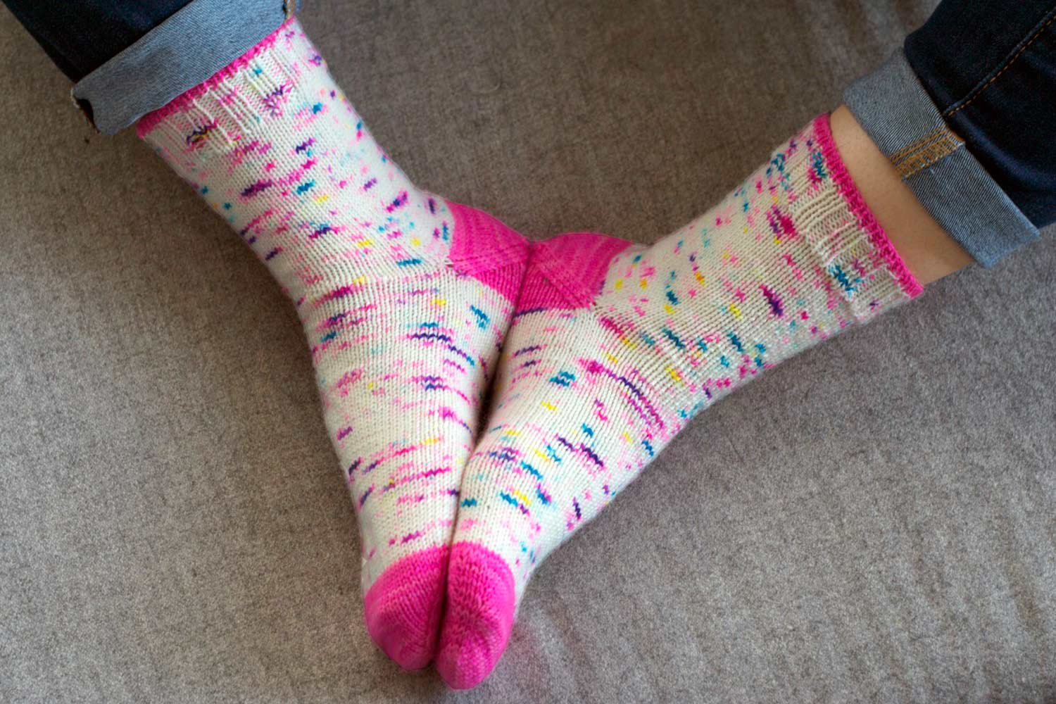 Toe up socks with contrasting toes and afterthought heels.