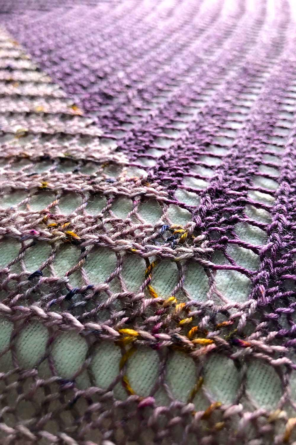 Detail shot of lines of lace changing directions when the colour changes.